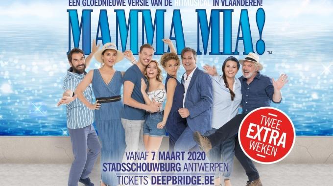 Wegens grote belangstelling (en uitverkochte voorstellingen) wordt de speelperiode van de hitmusical MAMMA MIA! nu al verlengd met 2 weken.