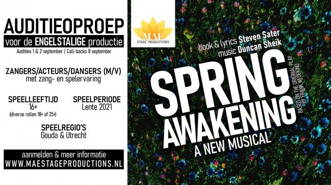 """MAE STAGE PRODUCTIONS BRENGT ENGELSTALIGE PRODUCTIE VAN """"SPRING AWAKENING"""""""